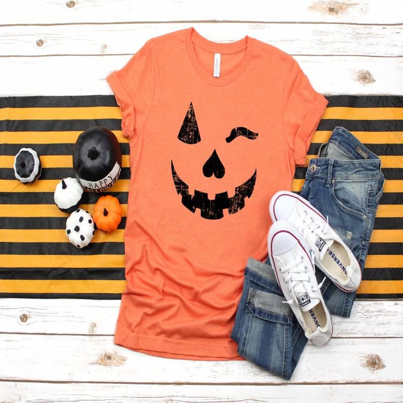 Funny Halloween Shirt, Winking Pumpkin Face, Womens Cute