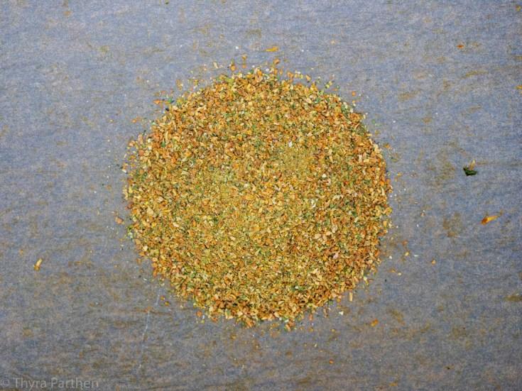 Gemüsebrühe-Pulver - Gemüse nach dem Zerkleinern im Detail