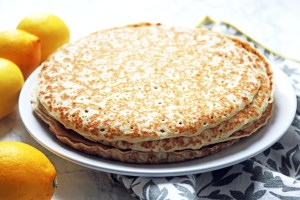 Pancakes crepes for serving with lemon and sugar. Find out how to make the perfect pancakes at Supper in the Suburbs!