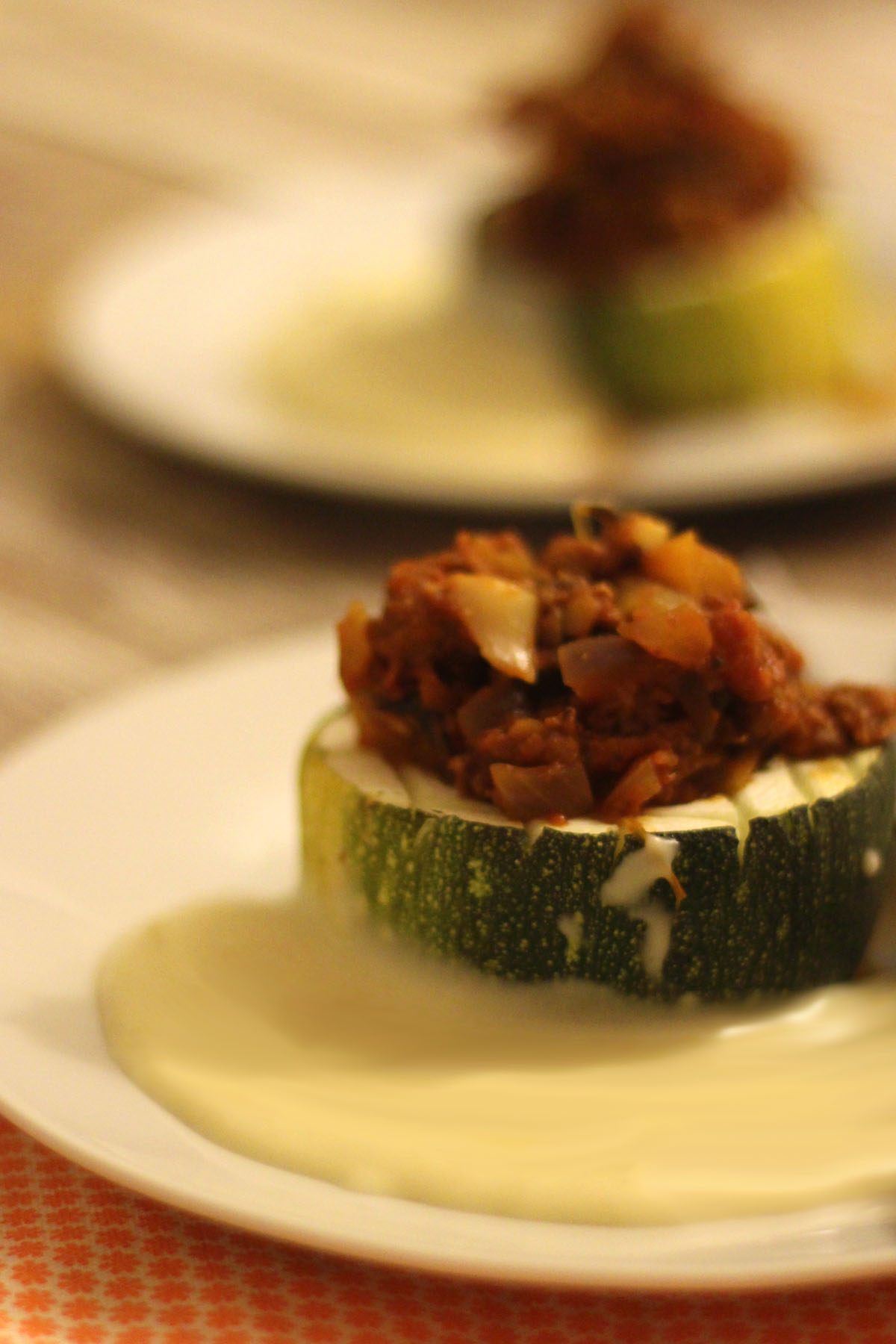 Stuffed Marrow with Cheese Sauce