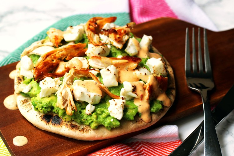 This light Shredded Chicken and Avocado Pizza is the perfect light lunch or summer dinner. Why not serve with potato wedges or a simple salad.