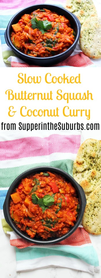 This Slow Cooker Butternut Squash and Coconut Curry cooks low and slow so it's ready in time for dinner! Serve with naan bread for an easy mid-week meal! Get the recipe at Supper in the Suburbs!
