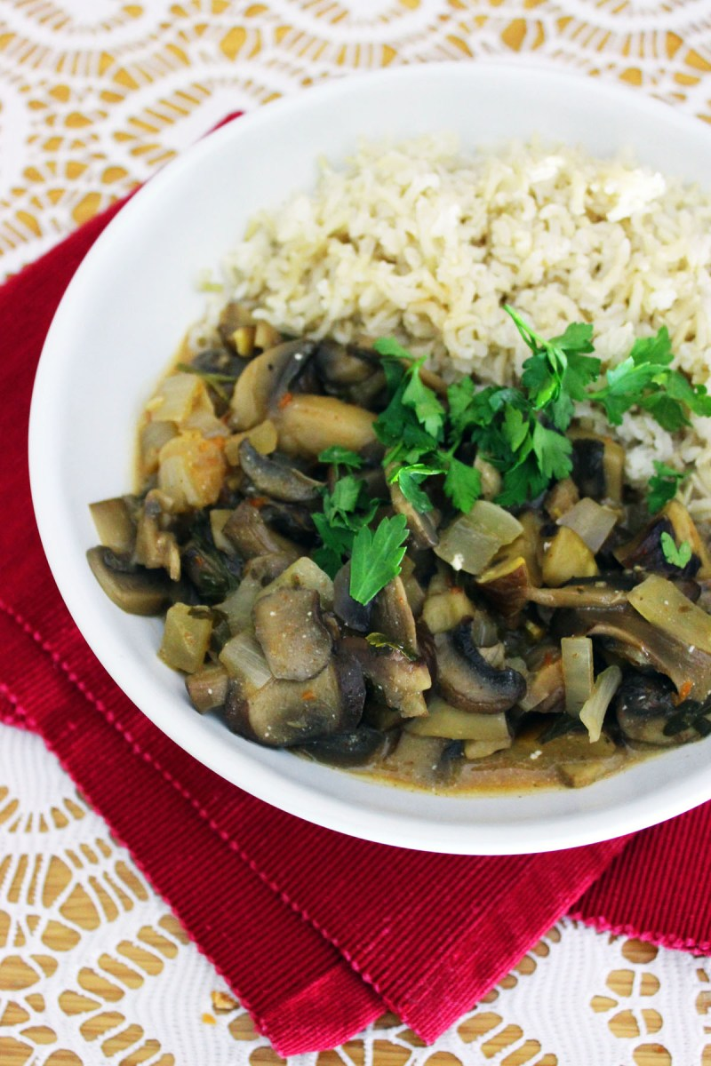Mushroom Stroganoff served with boiled rice