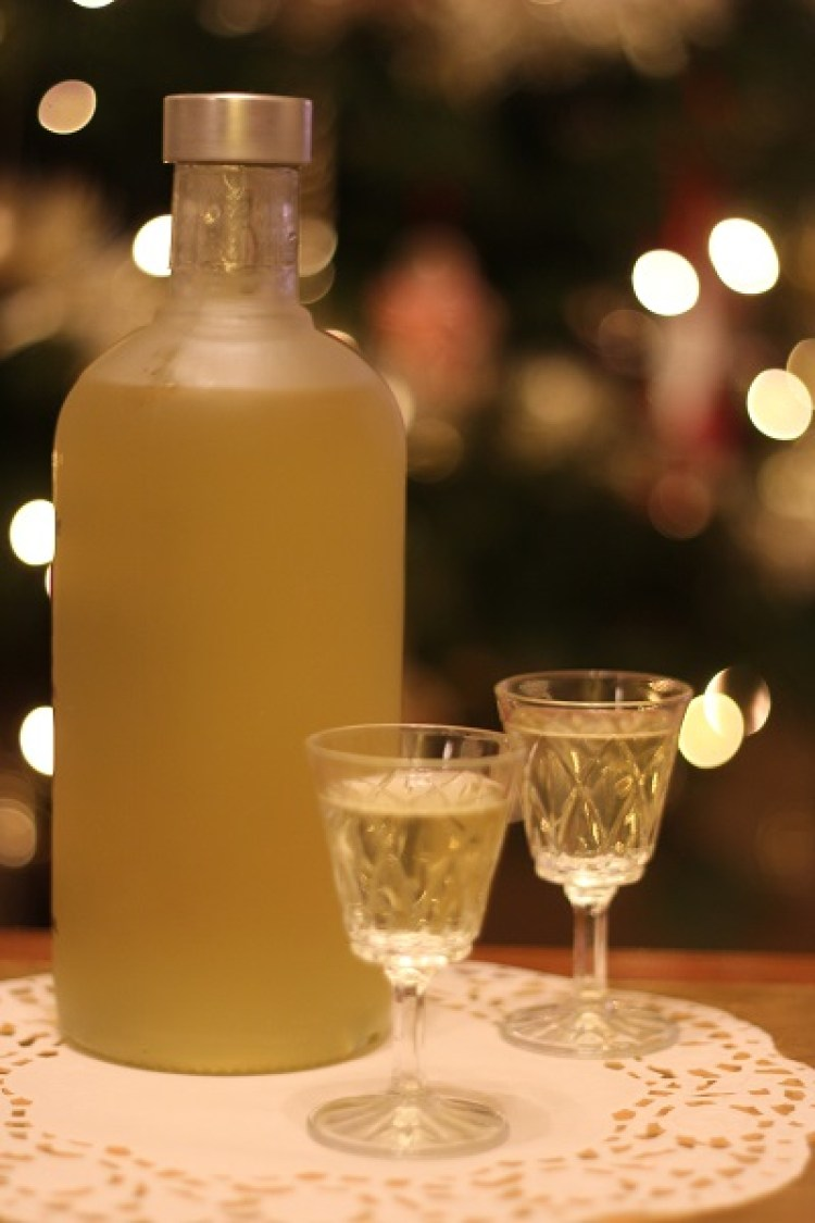 Bottle of home made limoncello