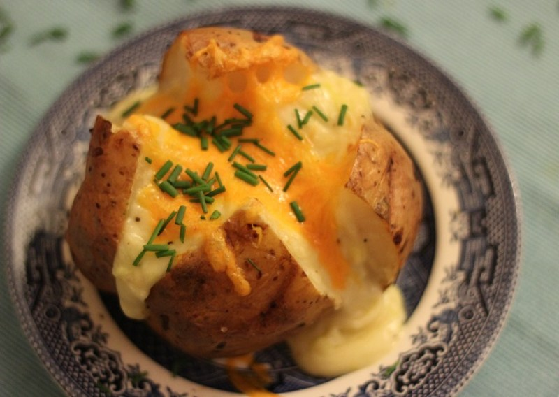 Aerial shot of cheesey jacket potato