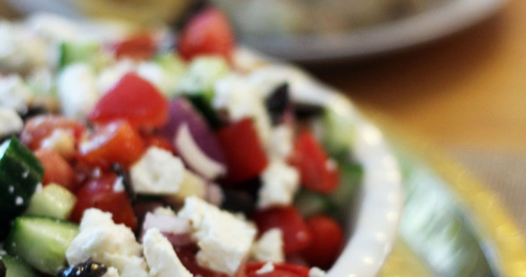 Greek Salad with Herby Roast Chicken