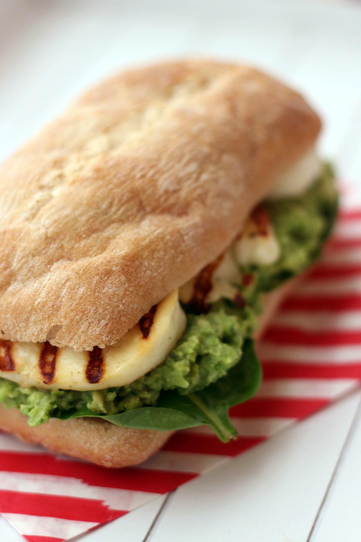 Halloumi Sandwich with Avocado, Pea and Mint Pesto