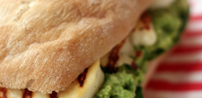 Halloumi Sandwich with Avocado, Pea and Mint Pesto from Supper in the Suburbs