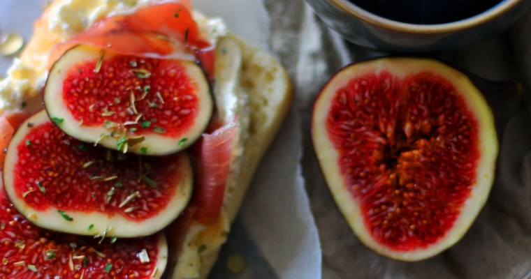 Fig and Prosciutto Sandwiches with Whipped Cheese and Honey