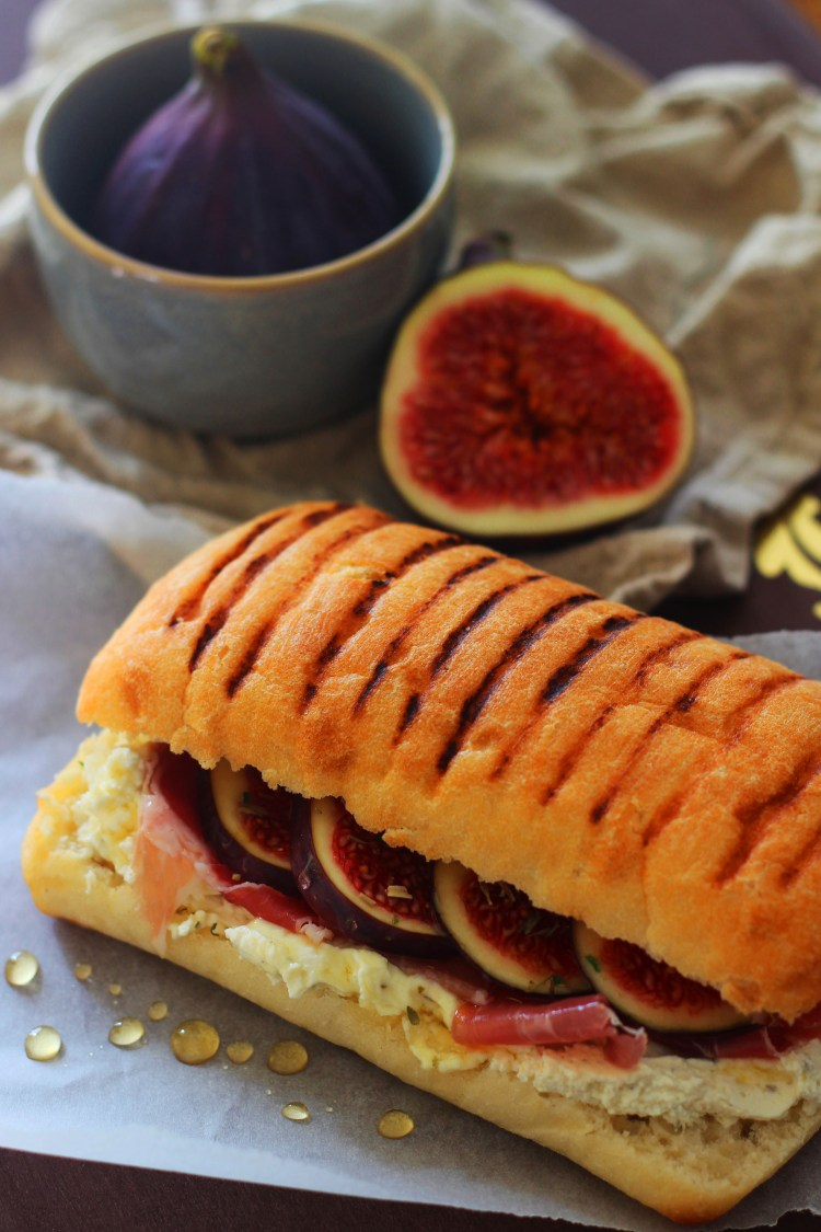 Fig Sandiwch with Whipped Herby Cheese, Prosciutto and Honey from Supper in the Suburbs