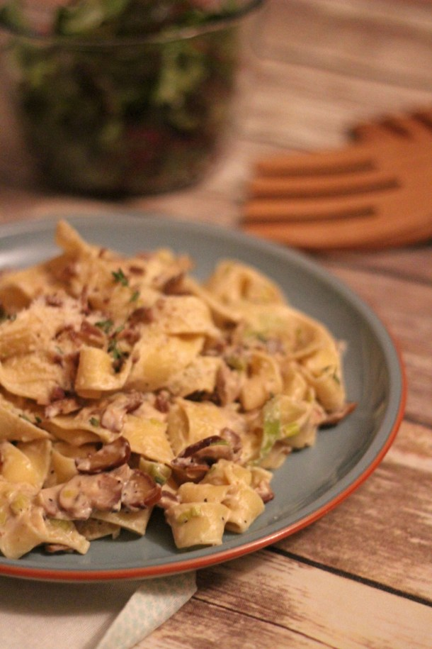 Mushroom, Leek and Chestnut Parpadelle from Supper in the Suburbs