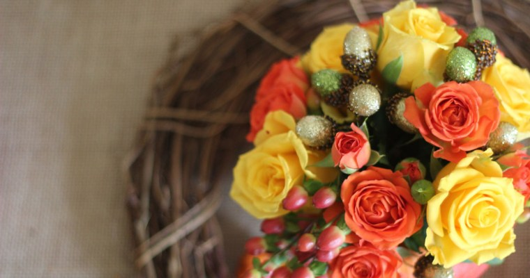 Pumpkin Flower Display, perfect for a fall table