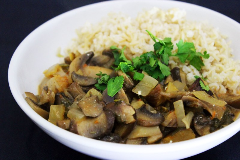 Chestnut Stroganoff served with steamed brown rice