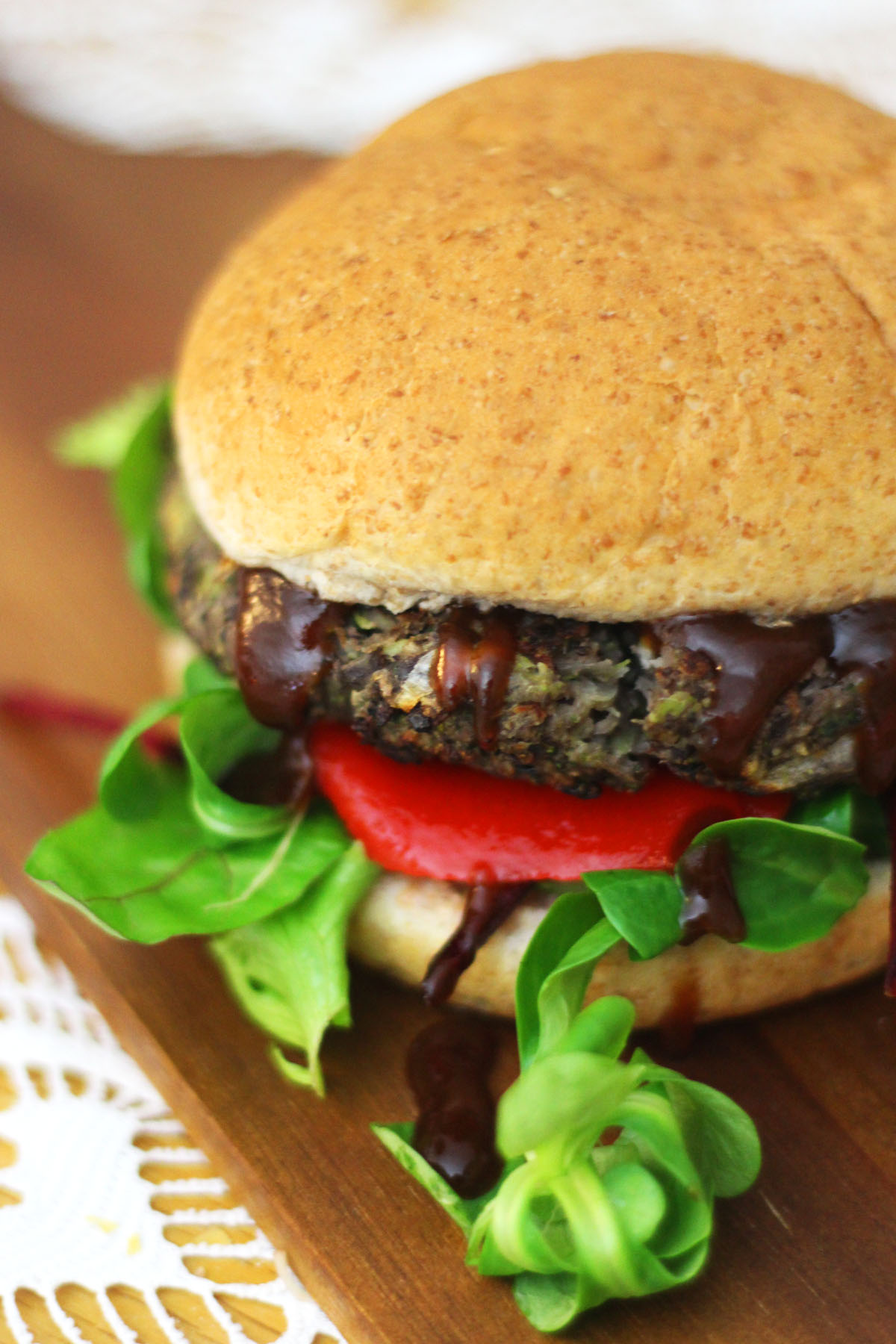 Portobello Mushroom and Black Bean Burger with Sweet Red Pepper and BBQ Sauce Find the Recipe at Supper in the Suburbs