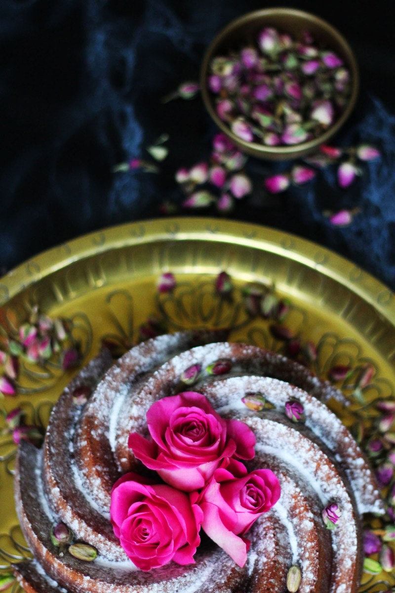 This Persian Love Bundt is based on the classic Persian Love Cake made with almonds pistachios rose and saffron its the perfect cake for Valentines Day