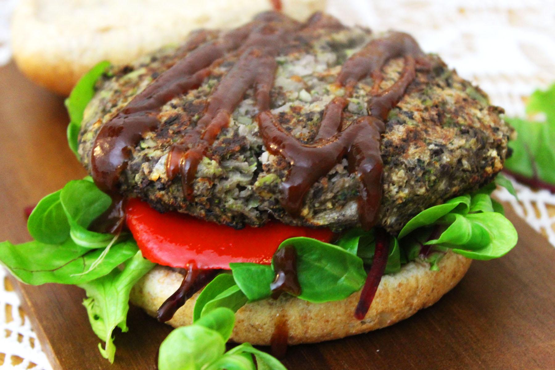 BBQ Portobello Mushroom and Black Bean Burgers
