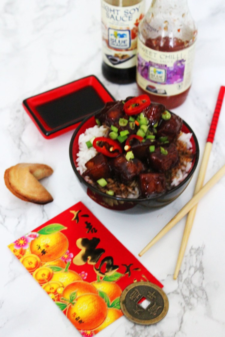 Celebrate Chinese New Year with Hong Shao Rou a Sweet and Spicy Pork Belly Dish served on steamed white rice