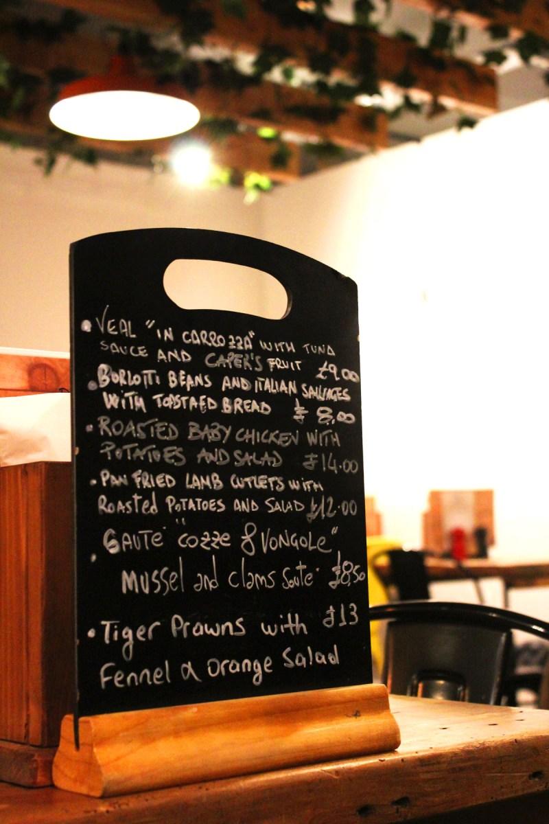 Specials menu at Pasta Remoli