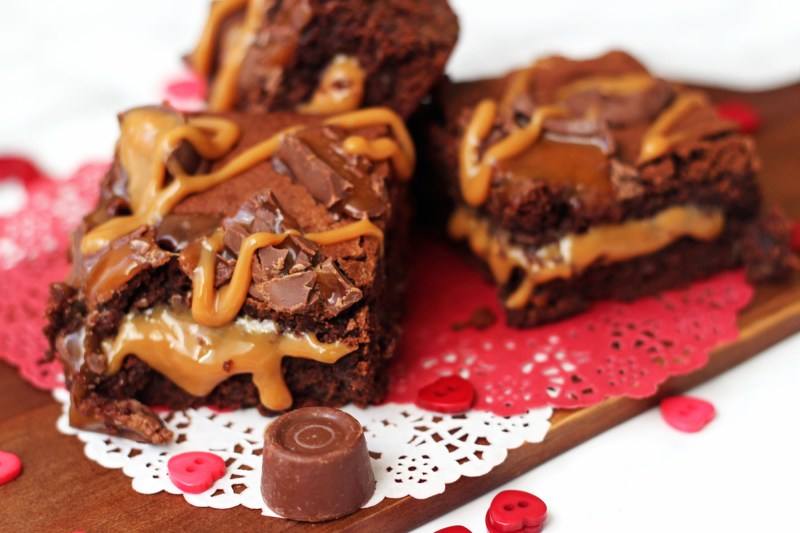 These Rolo Stuffed Brownies are dripping with caramel a really decadent pud to share with a loved one