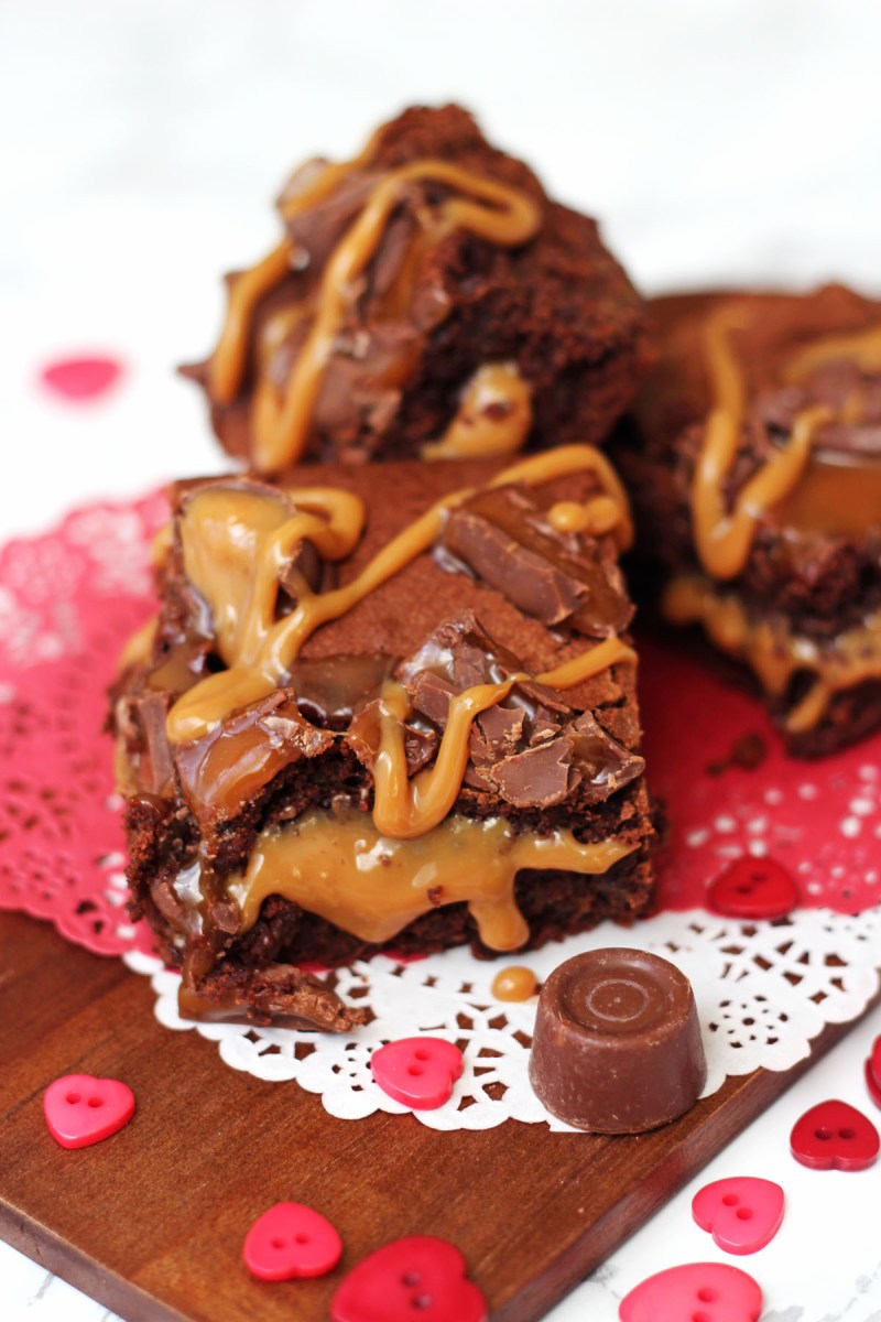 These Rolo Stuffed Brownies are oozing sweet caramel in between dark fudgy brownie find the recipe here