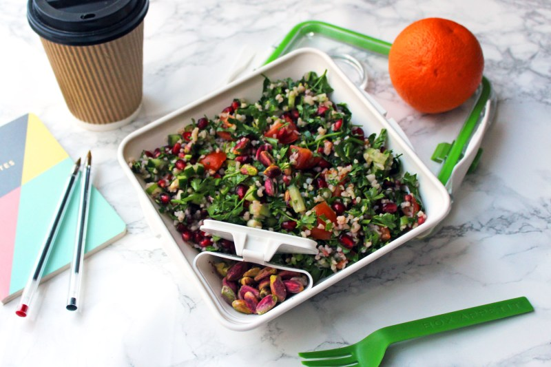 Pistachio and Pomegranate Tabbouleh is an ideal packed lunch for office workers Find the recipe at Supper in the Suburbs