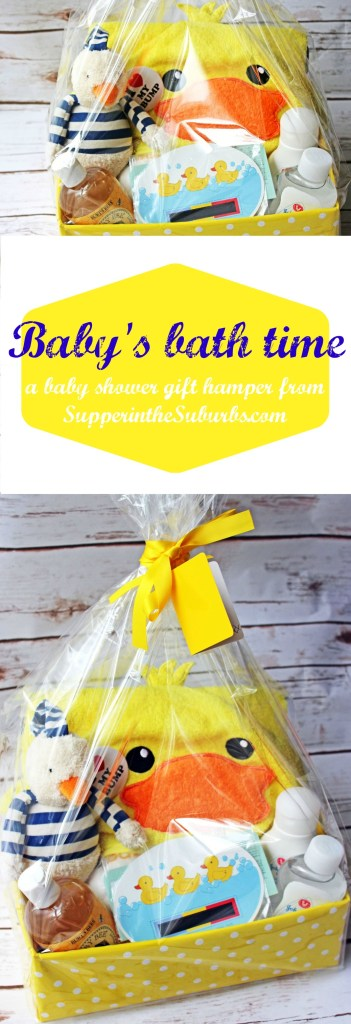 Baby's bath time gift hamper a wonderful baby shower gift idea from Supper in the Suburbs
