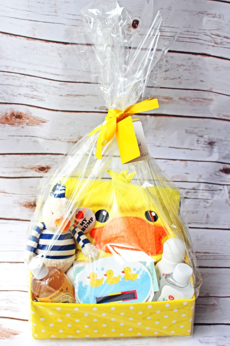Put together this baby's bath time baby shower gift hamper with these easy steps
