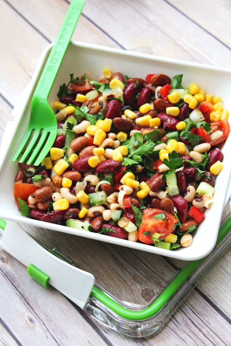 This colourful dish is the Three Bean Salad from Supper in the Suburbs a healthy salad that will keep you fuller for longer