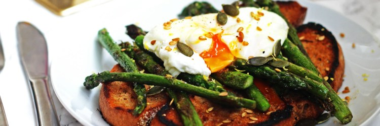Griddled Asparagus and Poached Egg on Toast Banner