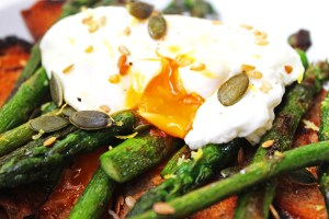 Griddled Asparagus with Runny Poached Egg on Toas