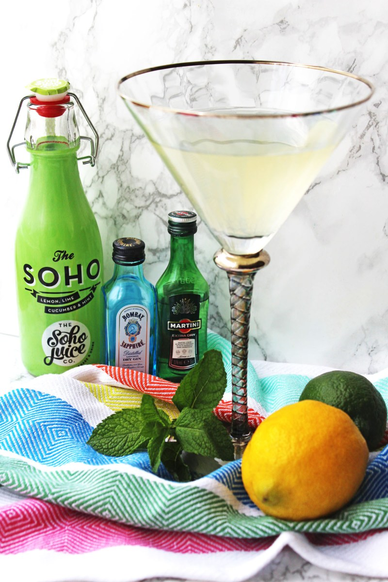 Check out the Soho Martini made with a cucumber mint and citrus fruit soft drink from the Soho Juice Co