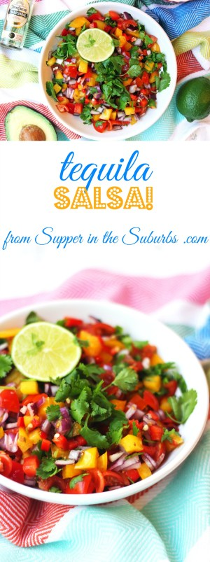 This tequila salsa is tex-mex cuisine at it's finest. Certainly not one to serve up to kids, but definitely one to have at your next adult-only taco bar! Get the recipe at Supper in the Suburbs.