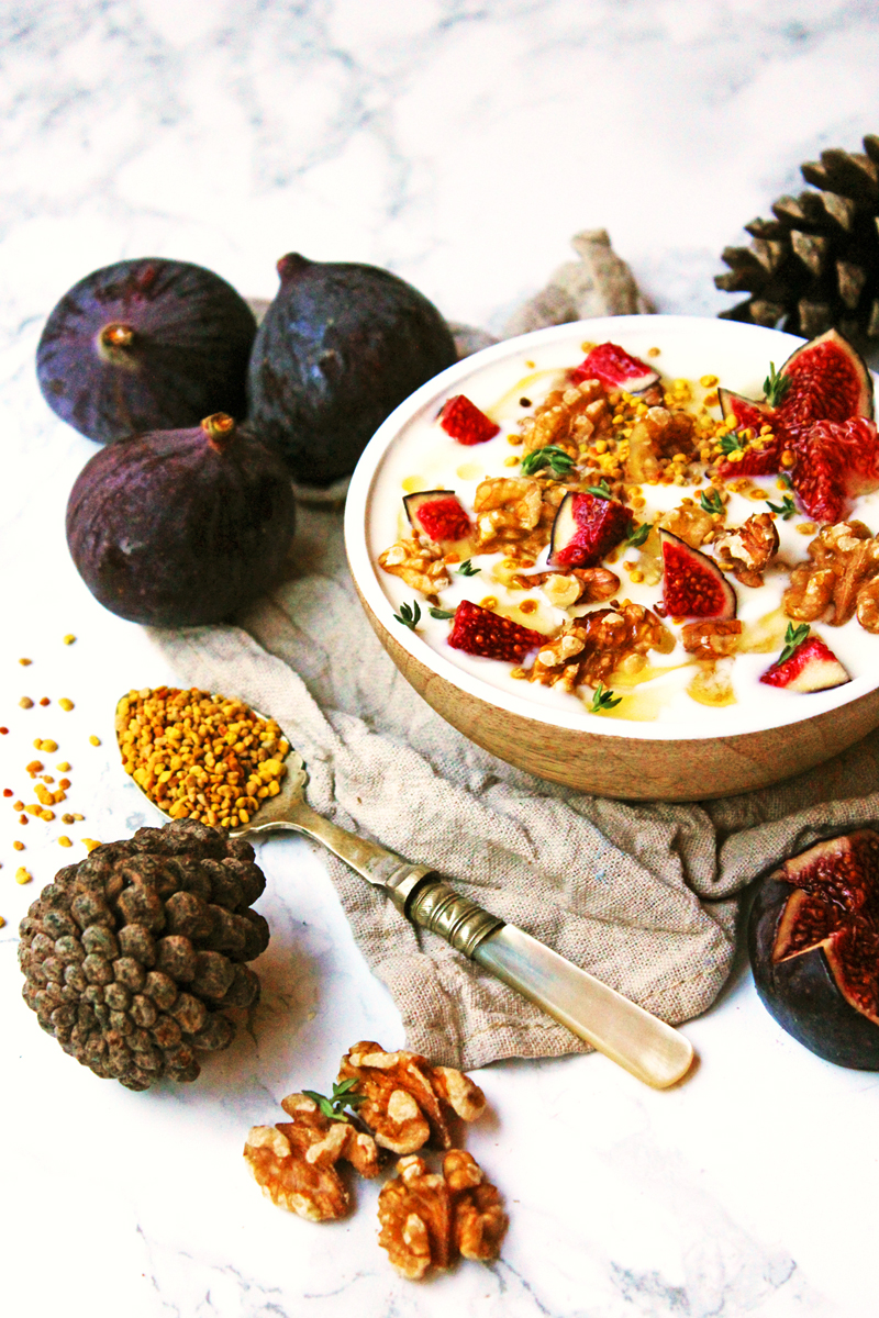 Fig and Walnut Yogurt with Honey and Thyme. Perfect for breakfast, pudding or a light snack!