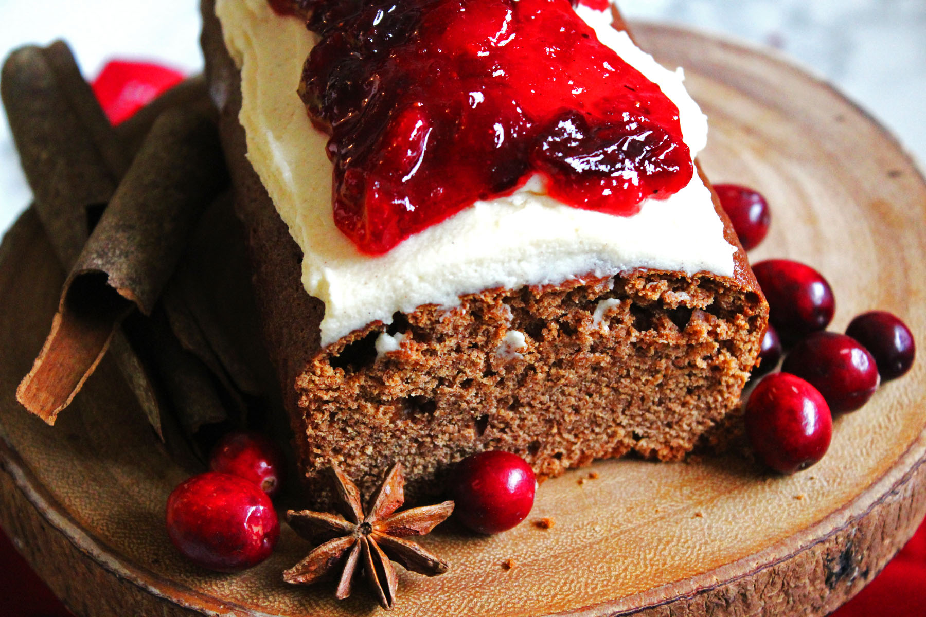 Cinnamon Loaf Cake with Cream Cheese Frosting and Mulled Cranberry Compote