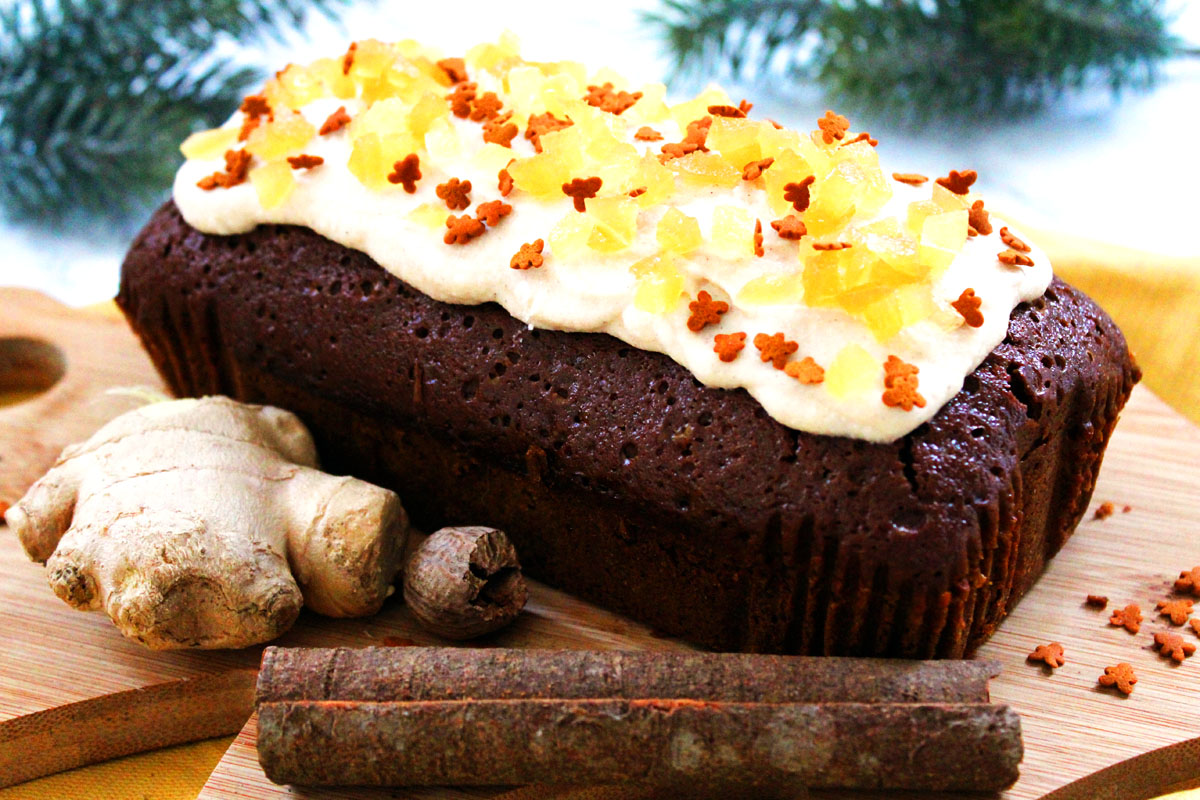 Gingerbread Loaf Cake with Cinnamon Cream Cheese Frosting
