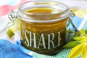 Everyone needs to make this recipe for Golden Oregano Oil. Its rich and aromatic and tastes great drizzled on just about everything from fish, to chicken, halloumi, tomatoes and even lamb.