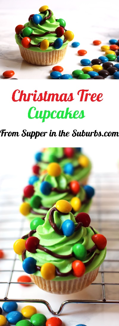 Christmas Tree Cupcakes are a fun sweet treat for the holiday period! They are made with bright green buttercream and chocolate fairy lights! Get the recipe at Supper in the Suburbs!