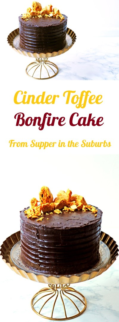 This Cinder Toffee Bonfire Cake is smothered in milk and dark chocolate ganache and topped with honey comb. Get the recipe at Supper in the Suburbs in time for your bonfire night party!
