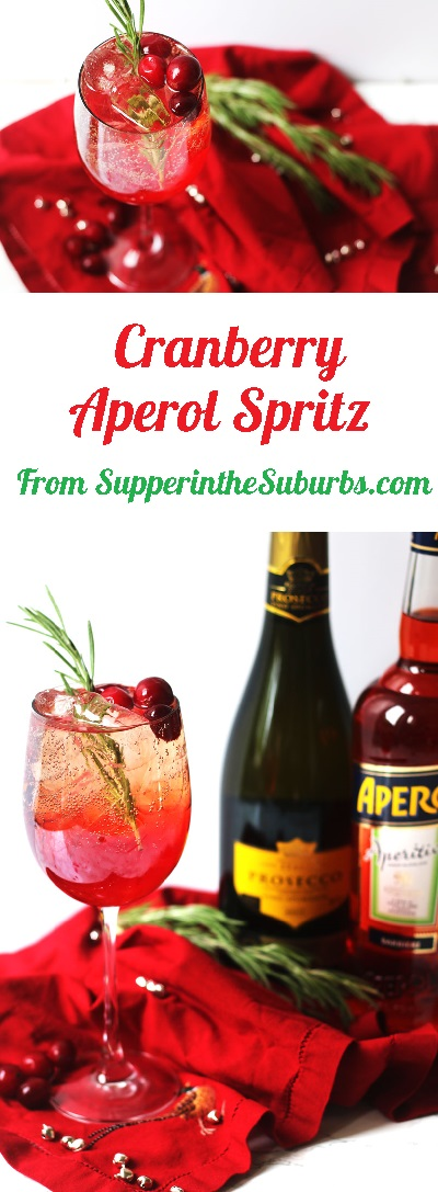 This recipe for Cranberry and Aperol Spritz is a fun, festive twist on the Italian classic aperitif! Get the recipe at Supper in the Suburbs!