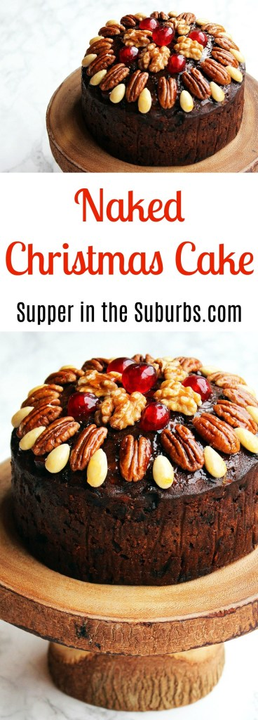 This Naked Christmas Cake looks like a decoration with glazed fruit and nuts on top. Get the recipe at Supper in the Suburbs!
