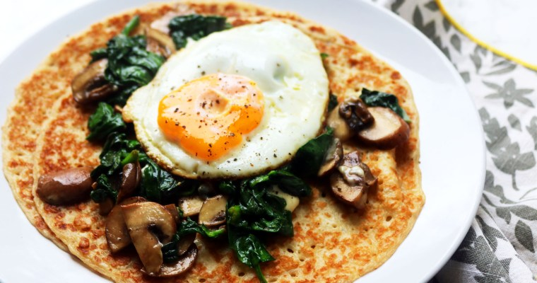 Spinach and Mushroom Crepes with Blue Cheese and Fried Egg