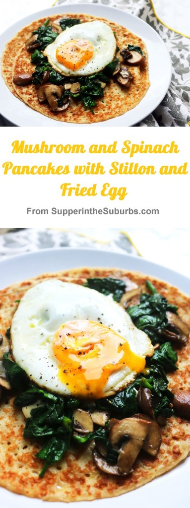Mushroom and Spinach Pancakes with Stilton and a Fried Egg is the best brunch recipe! Whether you're serving them for mardis gras, pancake day or just because, get the recipe at Supper in the Suburbs!