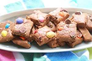Easter Fudge made with chocolate and mini eggs