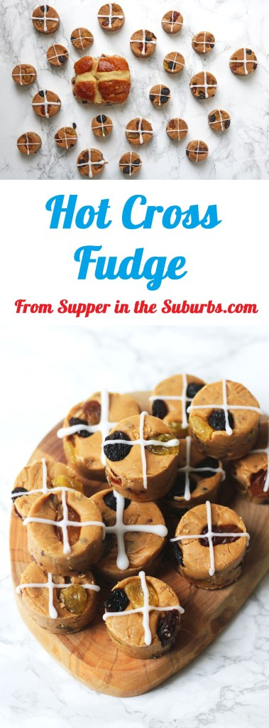This Easter themed fudge recipe has all the flavours of hot cross buns, including saffron, cinnamon and dried fruits. Hot Cross Fudge is a must have treat this Easter! Get the recipe at Supper in the Suburbs!
