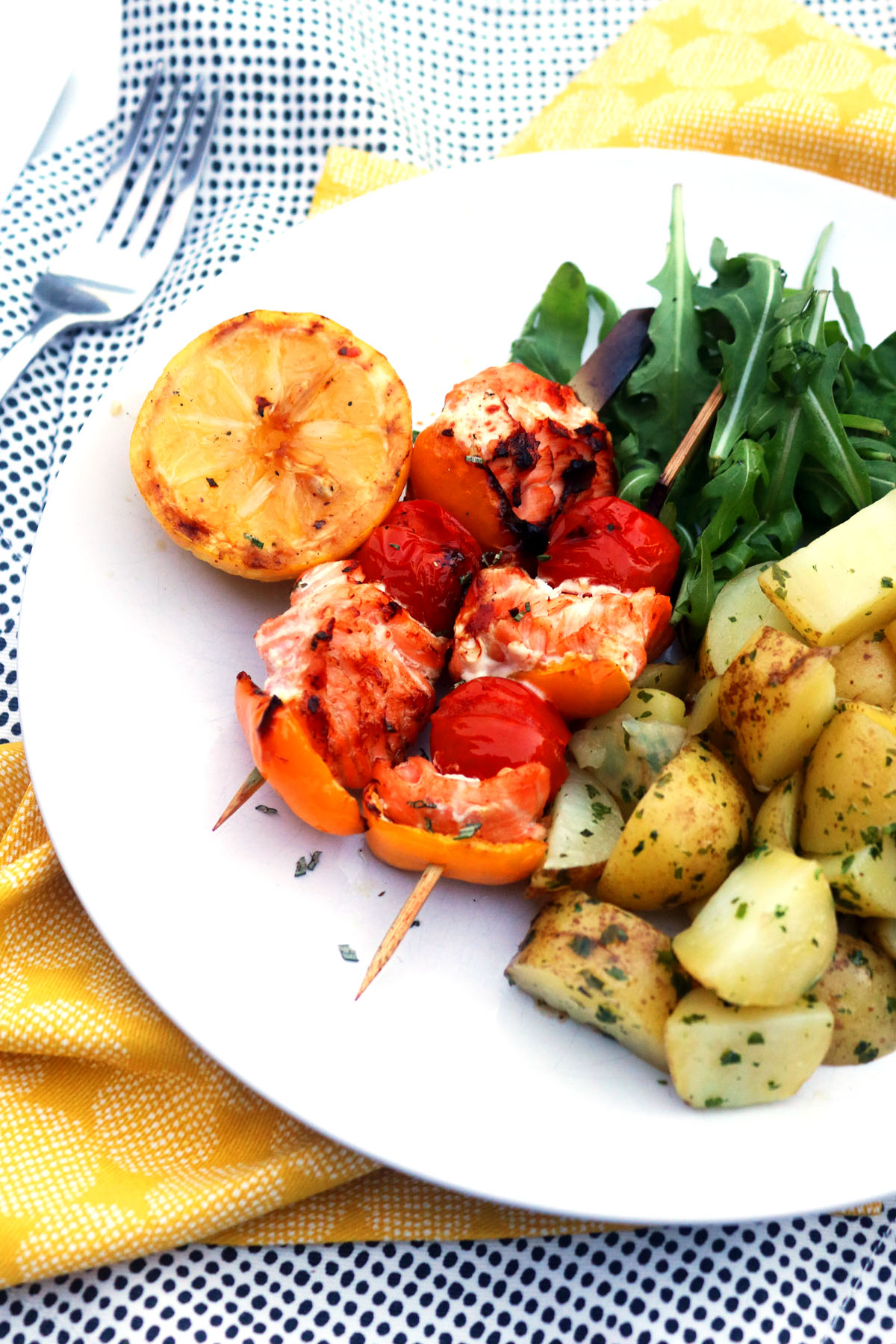 BBQ Salmon Skewers with herby potatoes and rocket 3