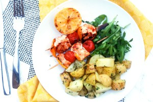 BBQ Salmon Skewers with herby potatoes and rocket 4
