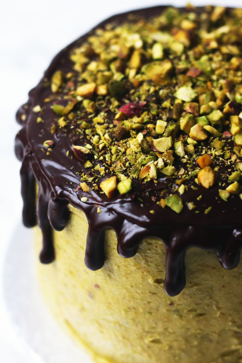 Chocolate and Pistachio Cake on a gold cake stand 3
