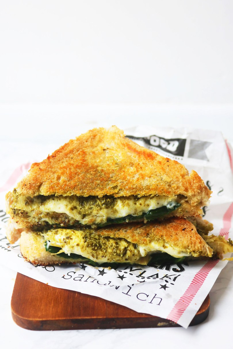 Traingle cut artichoke and pesto cheese toastie