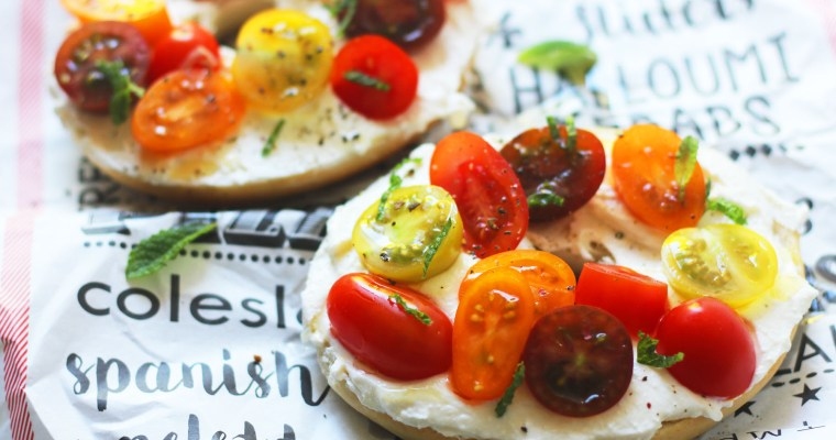 Whipped Feta and Tomato Bagel