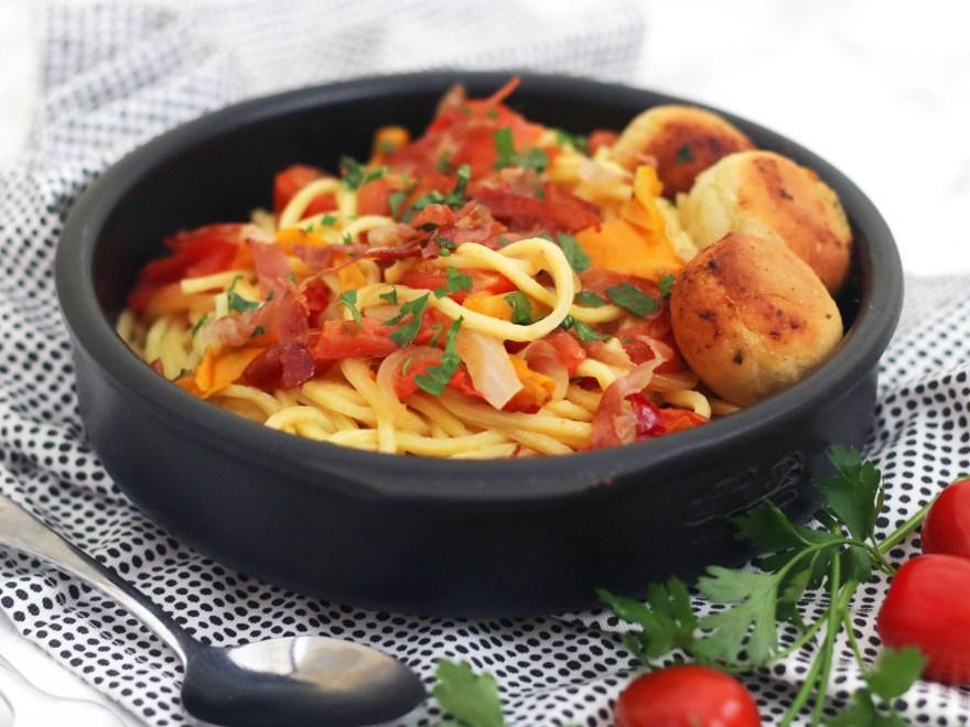 Spaghetti with Crispy Parma Ham